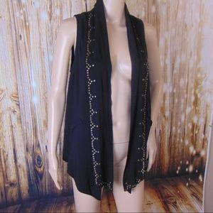 Ella Moss Womens Black Swing Asymmetric Open Vest